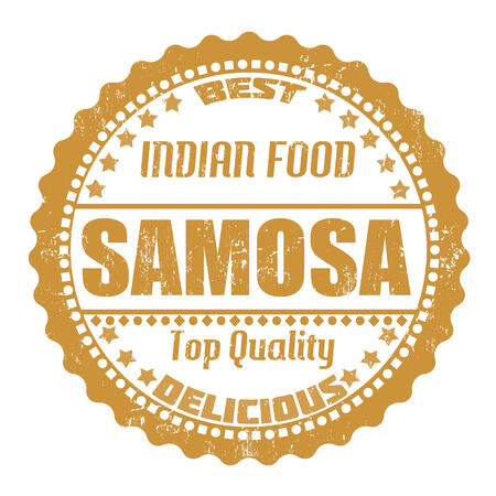 indian food: Samosa grunge rubber stamp on white, vector illustration
