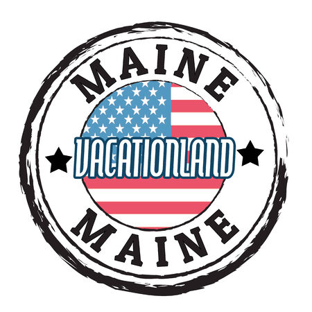 Grunge rubber stamp with flag and the text  Maine, Vacationland, vector illustration Stock Vector - 24005062