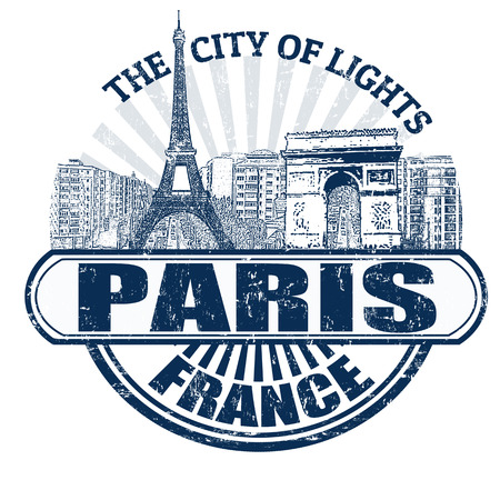 Grunge rubber stamp with the name of Paris ( The City of Lights), France written inside, vector illustration