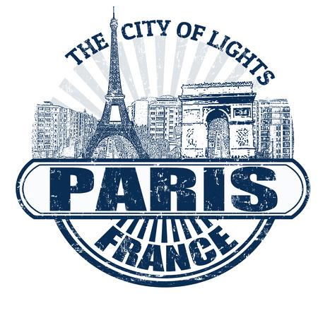francia: Grunge sello de goma con el nombre de Paris (La Ciudad de la Luz), Francia escrito en su interior, ilustración vectorial Vectores