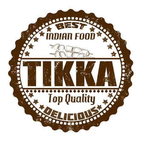 indian food: Tikka grunge rubber stamp on white, vector illustration