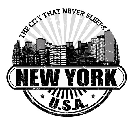 new york map: Grunge rubber stamp with the name of New York ( The city that never sleeps), written inside