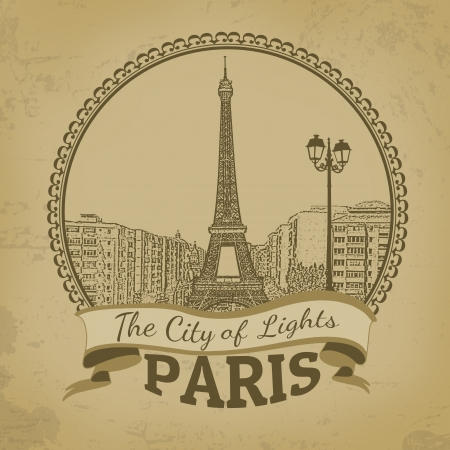 Landscape of Paris ( The City of Lights) on vintage postcard, vector illustration Vector