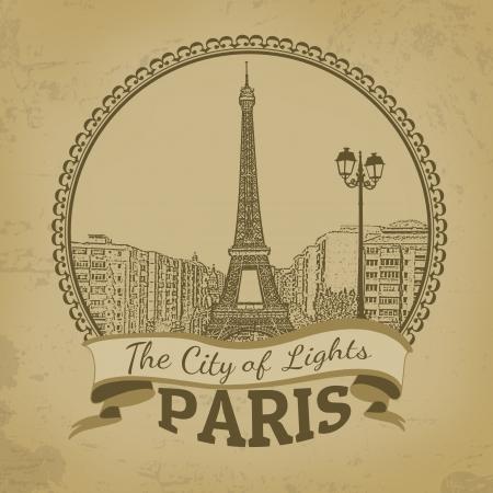 paris skyline: Landscape of Paris ( The City of Lights) on vintage postcard, vector illustration Illustration