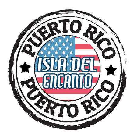 del: Grunge rubber stamp with flag and the text  Puerto Rico, Isla del Encanto, vector illustration