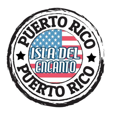 bandera de puerto rico: Grunge sello de goma con la bandera y el texto Puerto Rico, Isla del Encanto, ilustración vectorial