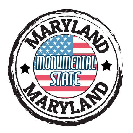 monumental: Grunge rubber stamp with flag and the text  Maryland, Monumental State, vector illustration