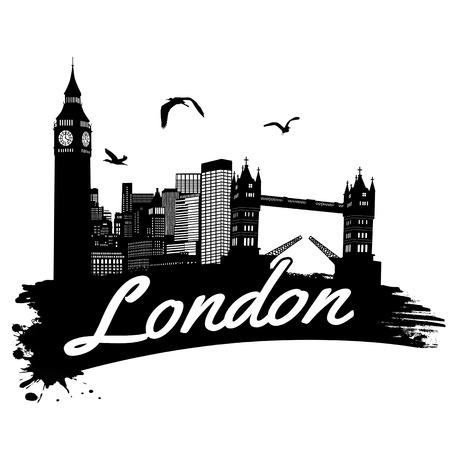 Londen vitage stijl poster, vector illustratie