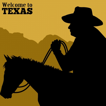 Welcome to Texas poster with silhouette of cowboy riding wild horse, vector illustration Vector