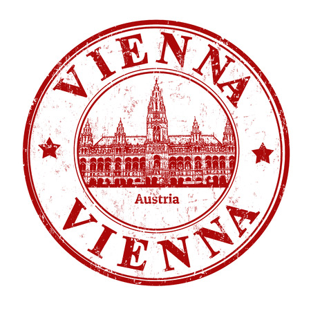 Grunge rubber stamp with town hall and the word Vienna, Austria inside, vector illustration Vector