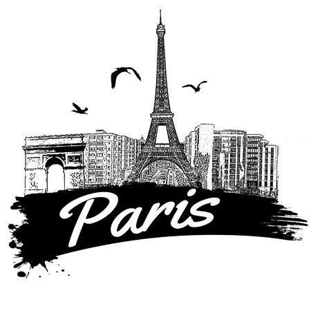 paris vintage: París en el estilo vintage del cartel, ilustración vectorial