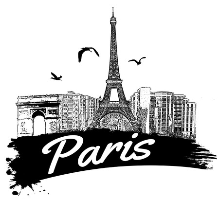 Paris in vintage style poster, vector illustration Çizim