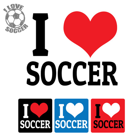 I love Soccer sign and labels on white background, vector illustration Vector