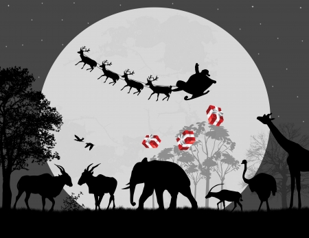 Santa Claus in Africa - silhouettes of wild animals and flying Santa, vector background Vector