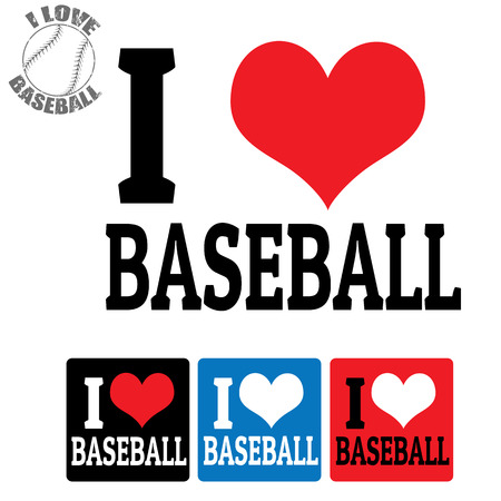 I love Baseball sign and labels on white background, vector illustration Vector