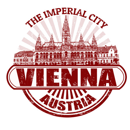 imperial: Grunge rubber stamp with the name of Vienna ( The Imperial City), France written inside, vector illustration