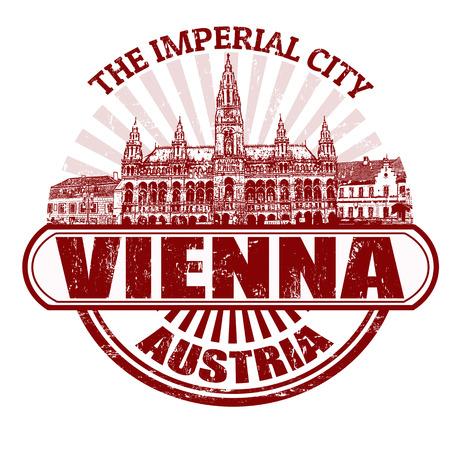 lugar: Grunge sello de goma con el nombre de Vienna (La Ciudad Imperial), Francia escrito en su interior, ilustraci�n vectorial