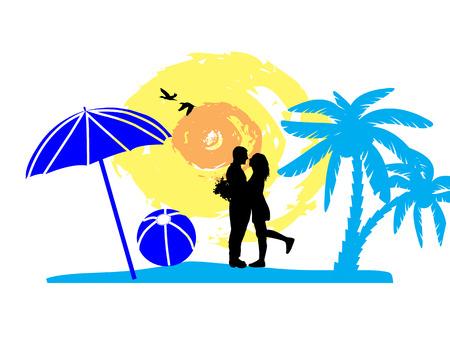 innamorati che si baciano: Coppia romantica sulla spiaggia tropicale, illustrazione vettoriale