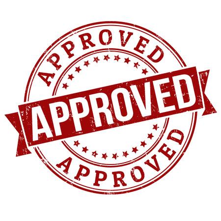 approbation: Approvato timbro di gomma grunge su bianco, illustrazione vettoriale