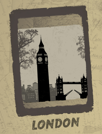 Vintage postcard design with London skyline on antique background, vector illustration Stock Vector - 24057465