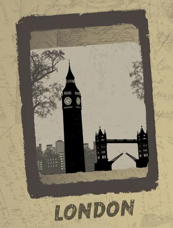 Vintage postcard design with London skyline on antique background, vector illustration Stock Vector - 24057465