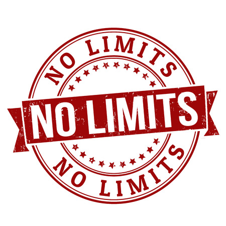 unlimited: No limits grunge rubber stamp on white, vector illustration