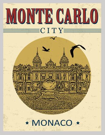 carlo: The grand casino in Monte Carlo , Monaco in vintage style poster, vector illustration Illustration