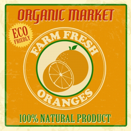 oranges: Vintage farm fresh organic oranges poster, vector illustration