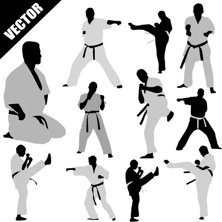 karate practice: Various karate poses of fighters silhouettes on white background, vector illustration