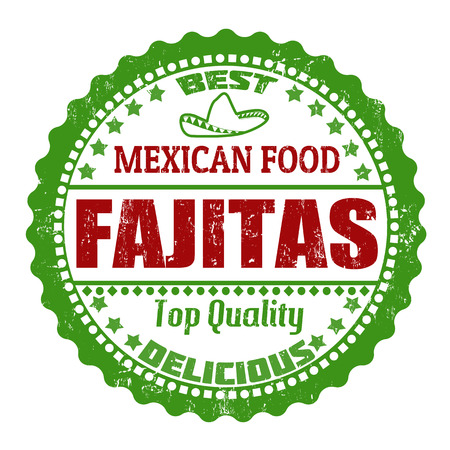 Fajitas grunge rubber stamp on white, vector illustration Vector