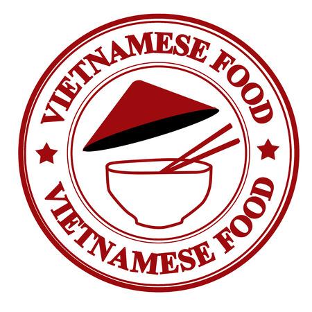 グランジ スタンプ内に記述されたテキスト vitnamese 食品、ベクトル イラスト