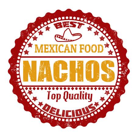 nachos: Nachos grunge rubber stamp on white, vector illustration Illustration