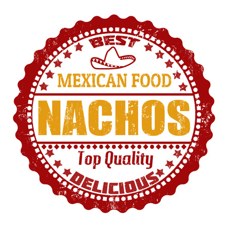 chips and salsa: Nachos grunge rubber stamp on white, vector illustration Illustration