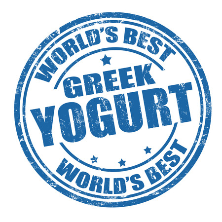 Grunge rubber stamp with the word greek yogurt written inside the stamp Vector