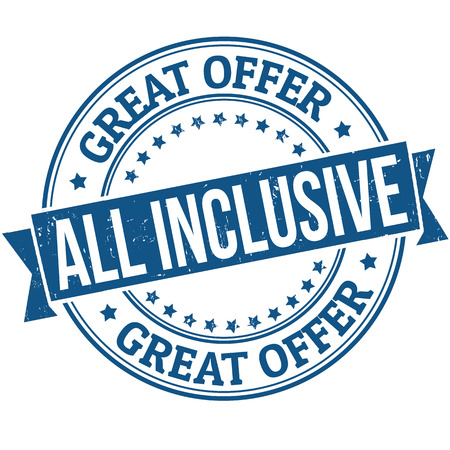 inclusive: All inclusive grunge rubber stamp on white, vector illustration Illustration
