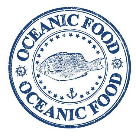 대양의: 물고기와 내부에 기록 된 텍스트 해양 식품, 벡터 일러스트와 함께 파란색 그런 지 도장 일러스트