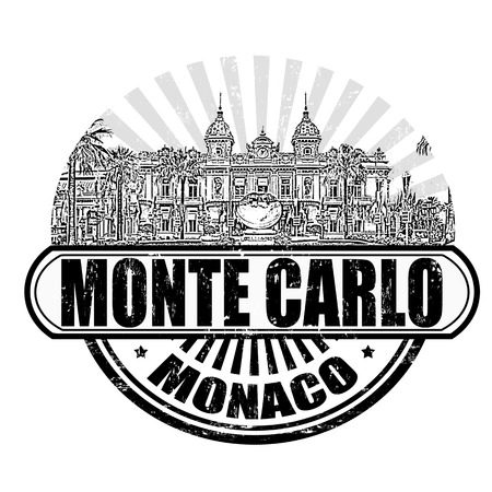 monte carlo: Grunge rubber stamp with the grand casino and the text Monte Carlo, Monaco inside, vector illustration