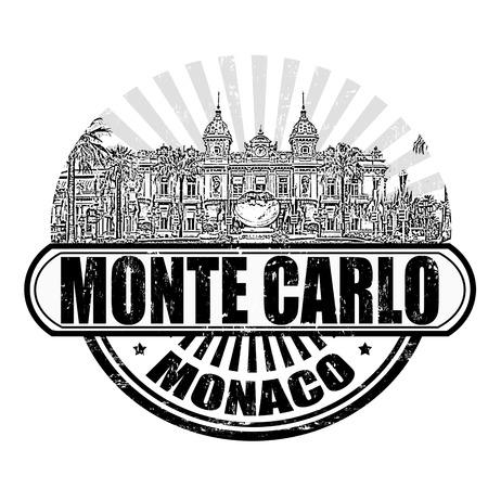 Grunge rubber stempel met het Grand Casino en de tekst Monte Carlo, Monaco binnen, vector illustratie