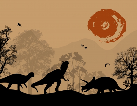 period:  Dinosaurs silhouettes in beautiful landscape, vector illustration Illustration