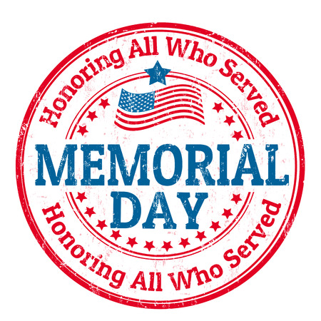 Grunge rubber stamp with the text Memorial day written inside, vector illustration Illustration