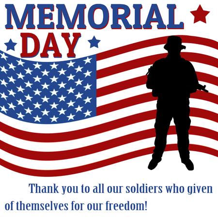 Memorial day poster met soldaat op vlag achtergrond, vector illustratie Vector Illustratie