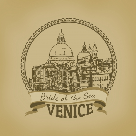 venezia: Landscape of Venice   Bride of the Sea  on vintage postcard, vector illustration