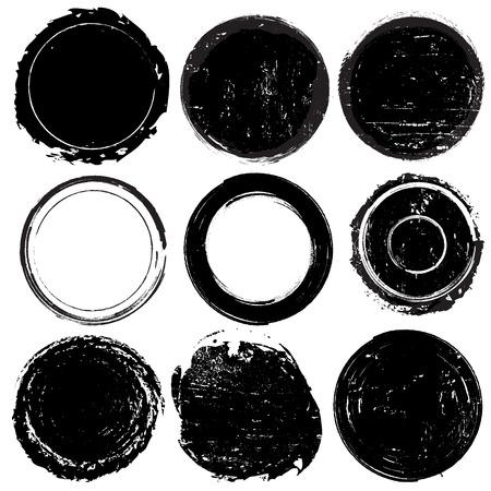 antique stamps: Set of black grunge shapes or stamps on white background, vector illustration