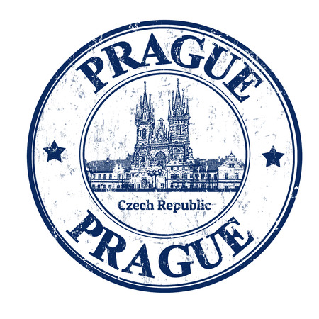 prague: Grunge rubber stamp with the old town square shape and the word Prague written inside, vector illustration