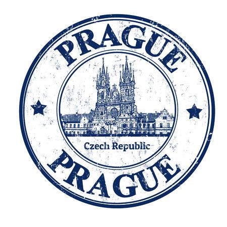 forme carre: timbre en caoutchouc grunge avec la vieille forme carr�e de la ville et le mot �crit � l'int�rieur de Prague, illustration vectorielle