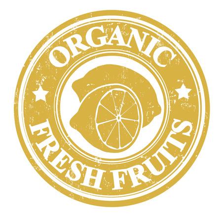 inspected: Lemon organic fruit grunge rubber stamp or label on white, vector illustration