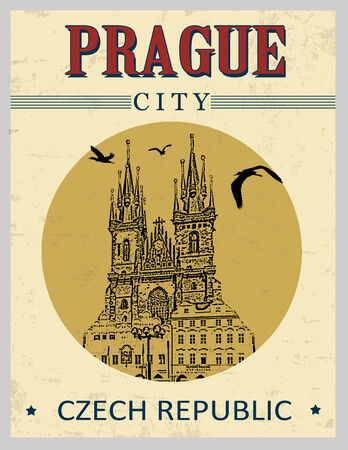 market place: The old town square from Prague in vintage style poster, vector illustration