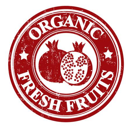inspected: Pomegranate organic fruit grunge rubber stamp or label on white, vector illustration