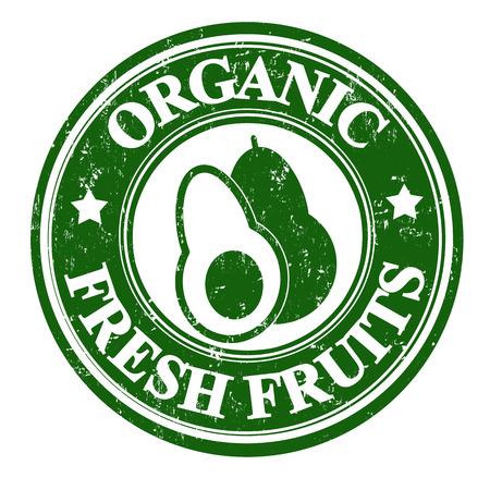 inspected: Avocado organic fruit grunge rubber stamp or label on white, vector illustration Illustration