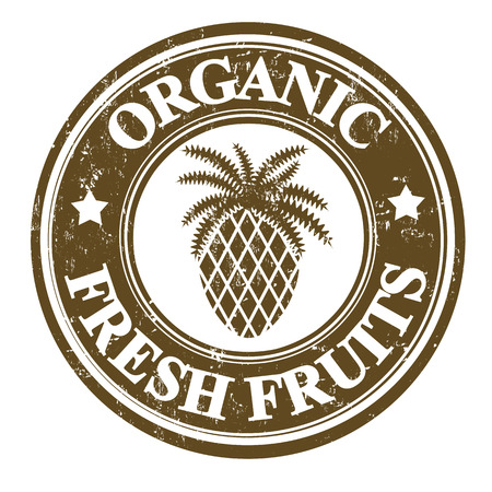 pineapple juice: Pineapple organic fruit grunge rubber stamp or label on white, vector illustration
